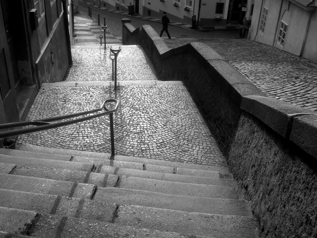 Jansky stairs Prague, B&W